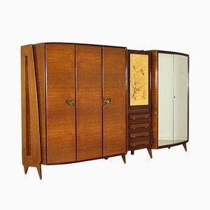 Armadio vintage in ottone ed impiallacciatura di mogano, anni '50