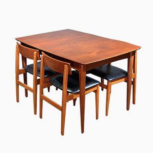 Erweiterbarer Vintage Tisch aus Teak & 4 Stühle von Greaves & Thomas
