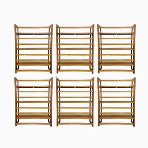Mid-Century Beech Modular Shelves, Set of 6
