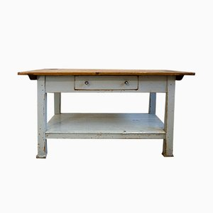 Solid Workbench with Double-Sided Drawer, 1930s