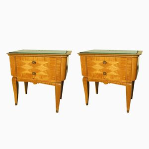 Satinwood Nightstands, 1950s, Set of 2