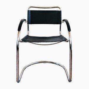 Italienischer Armlehnstuhl aus Leder & Chrom, 1960er