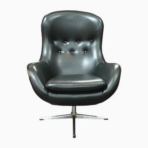 Mid-Century Swivel Armchair in Black Vinyl