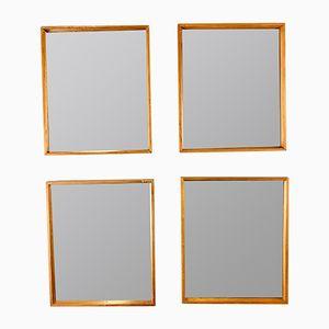 Espejos vintage con marcos de teca. Juego de 4