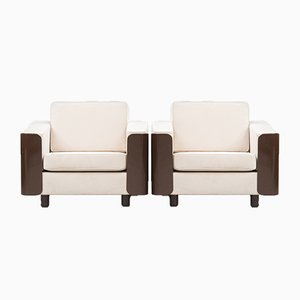 Mid-Century Brown Lacquered Lounge Chairs, Set of 2