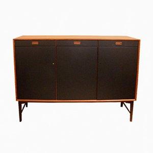 Vintage Black Lacquered Teak Sideboard, 1970s