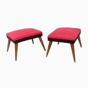 Reposapiés italianos Mid-Century de tela negra y roja con patas de madera, años 50. Juego de 2