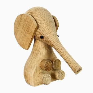 Baby Elephant in Oak by Gunnar Flørning for Laurids Lønborg, 1960s
