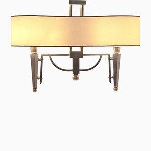 Lámpara de araña francesa Mid-Century bicolor de latón, años 50