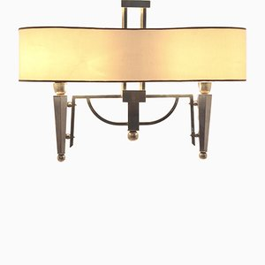 Mid-Century French Bicolored Brass Chandelier, 1950s