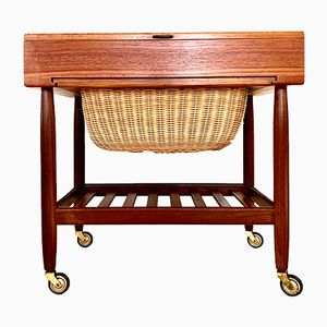 Danish Teak Sewing Cart by Ejvind Johannson for FDB Møbler, 1960s