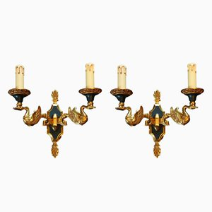 Gilded Bronze Sconces from Lucien Gau, 1980s, Set of 2