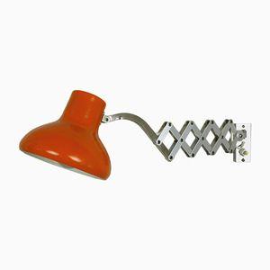 Lámpara de acordeón alemana vintage naranja, años 60