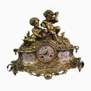 Antiker französischer Tisch aus Bronze & Porzellan