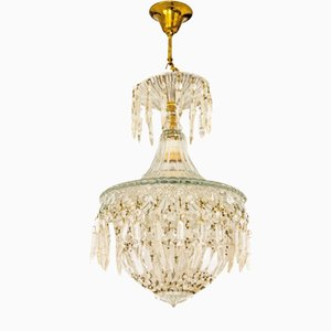 Mid-Century Crystal and Glass Tent Light Fixture