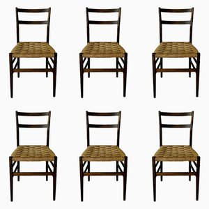 Mid-Century 646 Leggera Dining Chairs by Gio Ponti for Cassina, 1955, Set of 6