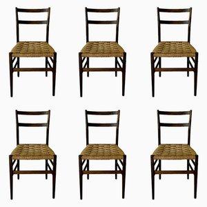 Mid-Century 646 Leggera Esszimmerstühle von Gio Ponti für Cassina, 1955, 6er Set