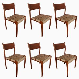 Italian Walnut and Rope Dining Chairs, 1950s, Set of 6