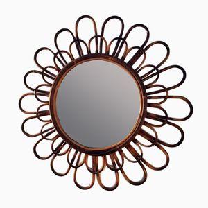 Espejo en forma de sol vintage de ratán, años 70