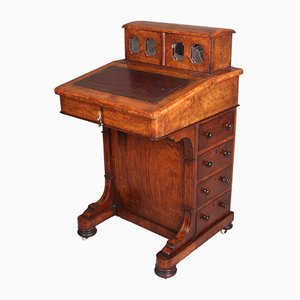 Antique Victorian Inlaid Burr Walnut Secretary from Davenport, 1870s