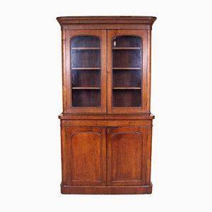 Large Antique Victorian Oak & Glass Display Cabinet