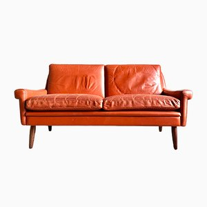Vintage Danish Leather 2-Seater Sofa by Svend Skipper, 1960s