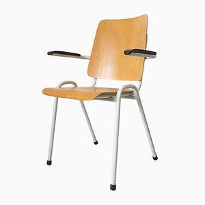 Industrieller Vintage Armlehnstuhl aus Schichtholz
