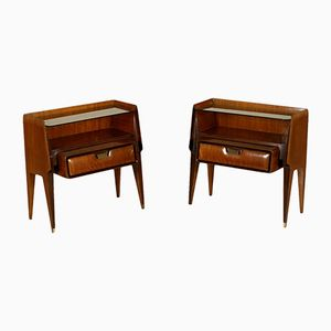 Mahogany, Brass & Glass Nightstands, 1950s, Set of 2