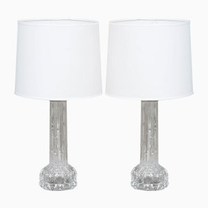 Table Lamps in Cast Glass by Carl Fagerlund for Orrefors, 1970s, Set of 2