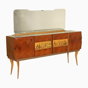 Vintage Oak & Mahogany Buffet with Mirror, 1960s