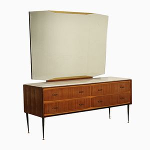Rosewood Veneer & Marble Buffet with Mirror, 1960s