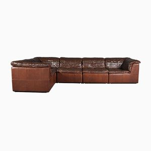 Cognac Leather Patchwork Modular Sofa from Laauser, 1970s