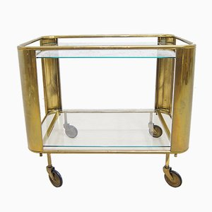 French Art Deco Brass Bar Cart, 1930s