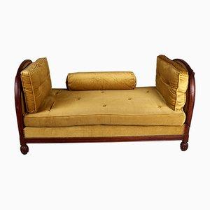 Französisches Art Deco Tagesbett mit Samtbezug & Gestell aus Mahagoni