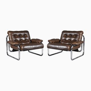 Leather Lounge Chairs by Johan Bertil Häggström for Ikea, 1970s, Set of 2