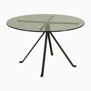 Italienischer Tisch mit Metallgestell & Glasplatte von Enzo Mari für Driade, 1970er