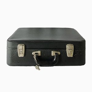 French Black Vinyl Suitcase, 1950s