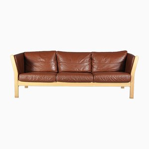 Danish Cognac Leather Sofa from Stouby, 1970s