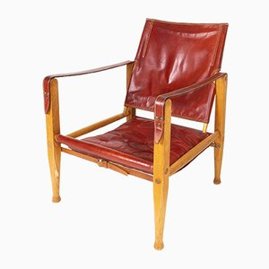 Red Leather Safari Chair by Kaare Klint for Rud Rasmussen, 1960s