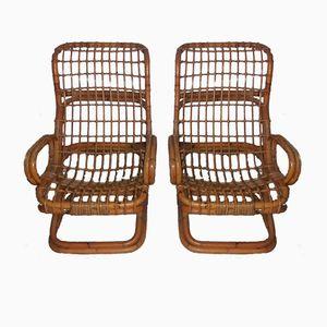 Chaises en Osier de Bonacina, 1960s, Set de 2