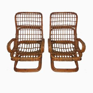 Sedie in vimini di Bonacina, anni '60, set di 2