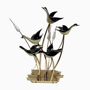 Vintage Italian Murano Glass Flying Ducks Sculpture by Licio Zanetti for S.A.L.I.R. Murano