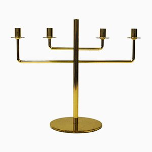 Four-Armed Brass Candelabra by Hans-Agne Jakobsson for Markaryd, 1960s