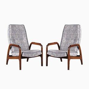 Scandinavian Modern High Back Lounge Chairs in Teak, 1960s, Set of 2