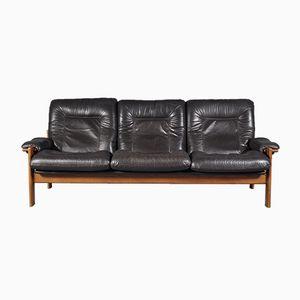 Scandinavian Leather Three-Seat Sofa, 1960s