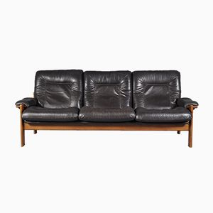 Skandinavisches 3-Sitzer Sofa aus Leder, 1960er