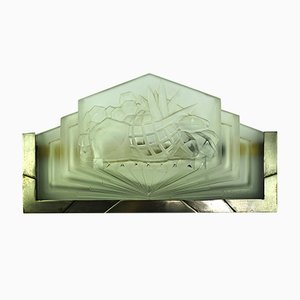 Apliques de pared Art Déco de vidrio prensado de Muller Frères, años 30