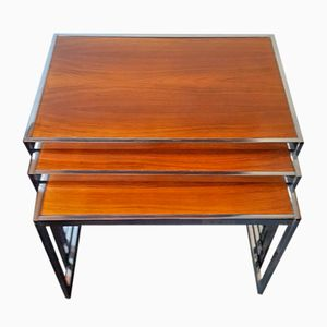 Rosewood and Chrome Nesting Tables by Howard Miller, 1960s