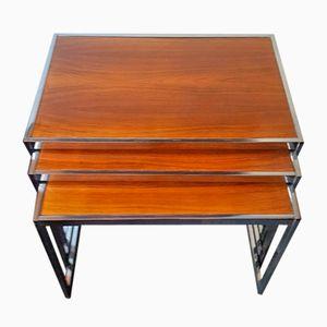 Tables Gigognes en Palissandre et Chrome par Howard Miller, 1960s