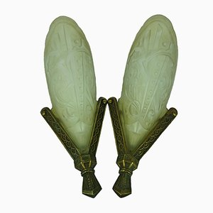 Art Deco Wall Sconces with Music Note Motifs, 1920s, Set of 2